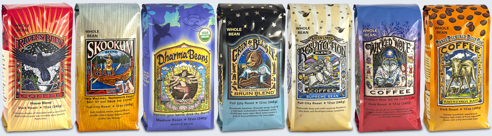 Bag designs for Raven's Brew Coffee