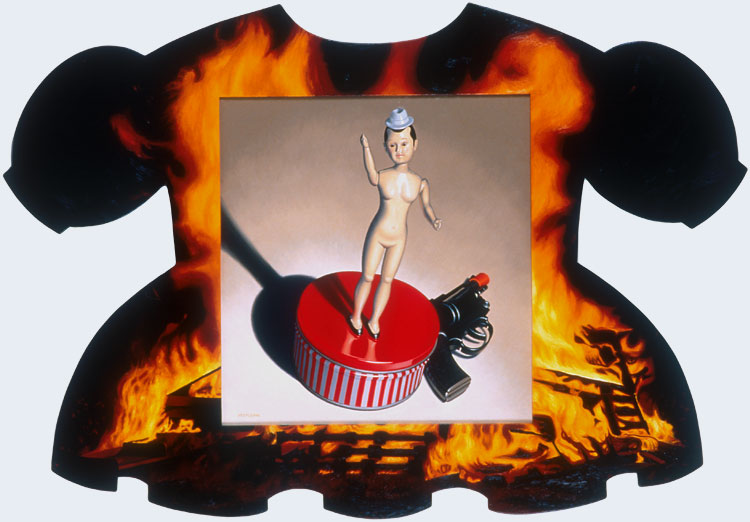 The Orator burning dress, doll and gun